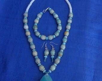 Chalcedony and Amazonite Necklace Set,Amazonite Bracelet,Amazonite Earrings,Blue Chalcedony Necklace Set