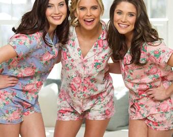 Bridesmaid PJ's | Bridal PJ Set | Floral PJ Sets | Wedding Pajamas | Bridal Pyjama Set | Floral Night Set | Short Pajamas
