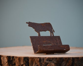 CH305 Steer Business Card Holder | Rusty Metal Cow Business Card Stand with Clear-Coating | Cattle Silhouette | Office Storage Oraganization