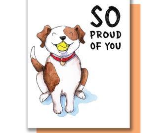 So Proud Of You Puppy Dog Congrats Graduation Card