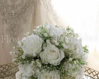 Alexis, White Rose & Baby's Breath Silk Wedding Artificial Flowers Bouquet, Elegant Bridal Posy, babies breath, roses rustic classic