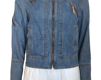90's Denim Jacket with Bronzed Metallic Accents