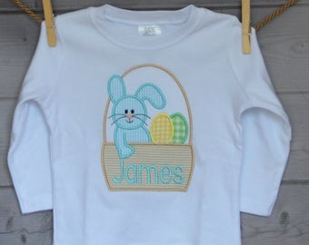 Personalized Easter Basket with Bunny and Eggs Applique Shirt or Onesie Girl or Boy