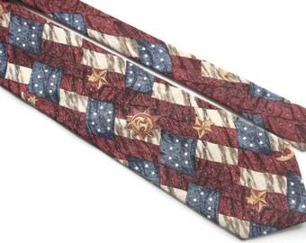 Celestial Sun Moon & Stars Tie,Vintage Tie,Red White Blue Patriotic Tie,Made in USA Necktie,American Eagle Tie,Vintage Cotton Tie