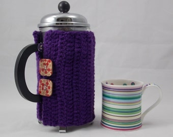 Cafétiere cozy purple insulating for Bodum coffeemaker frenchpress coffeeplunger with 2 flower print buttons made of varnished wood