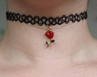 Tattoo Choker with Rose Charm