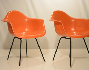 Pair of Herman Miller Eames Arm Chair Shells with H-base