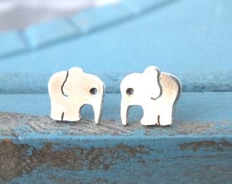 Elephant Stud Earrings, Sterling Silver Elephant Earrings, Hand Cut Elephant Stud Earrings, Animal Studs