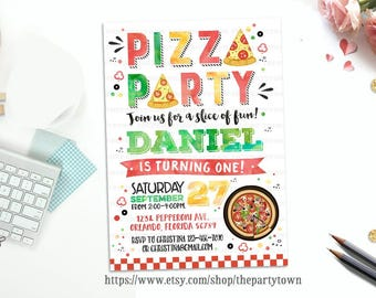 Pizza Party Birthday Invitation, Pizza Invite, Watercolors Personalized, first birthday, 1st birthday Party Printable