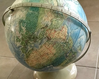 Vintage World Globe - Vintage World Map - Rand McNally Relief World Globe - Cartography  - Desk Accessory - Atlas - Australian Seller
