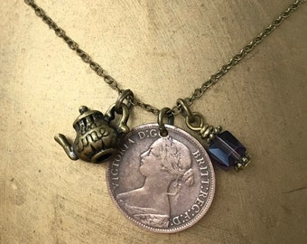 Old coin necklace, 1866 British coin pendant, English coin jewelry, teapot necklace, charm necklace. 19th century coin, Queen Victoria