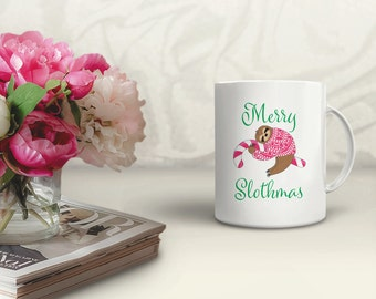 Merry Slothmas Mug | Sloth Mug | Funny Christmas Mug | Coffee Mug | Sloth Lover Mug