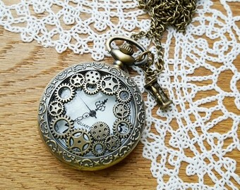 Vintage Style Steampunk Pocket Watch, Quartz Pocket Watch, Victorian Style Pocket Watch Necklace Chain