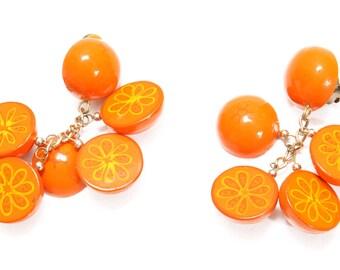 1960s Novelty Sliced Orange Fruit Clip On Earrings