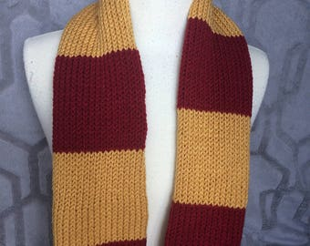 Gryffindor Hogwarts Scarf, Kansas City Chiefs scarf, Harry potter scarf, 49ers scarf, Hand knit, other house scarves too! striped scarf