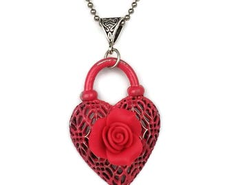 Pewter Red Heart Pendant with Rose Necklace B'sue by 1928 Sweetheart