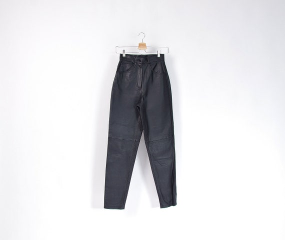 SALE - 90s Black Leather Mom High Waisted Pants with Tapered Legs / Size XS/S