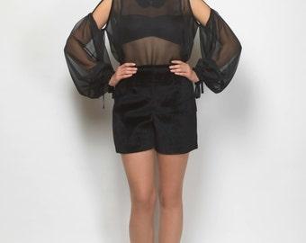 cold shoulder top, chiffon top, sheer top, balloon sleeved top, victorian neckline top, black top, open shoulder top, chiffon