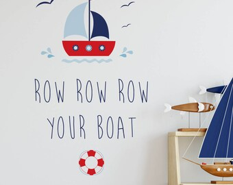 Row Row Row your boat wall sticker  - Wall Stickers - Wall Decoration - Wall Art - Wall Tattoo - Home Decor - Children's Rooms