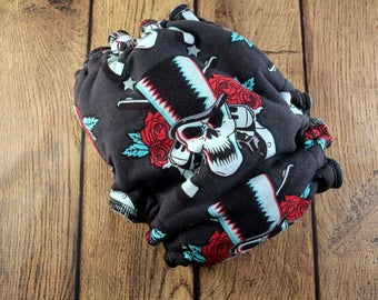 Guns Hybrid Fitted - Fitted Cloth Diaper - Rock Music Hybrid - Skull Hybrid - Rose Hybrid - Skull Roses - Gun Roses - Rose Skull Fitted