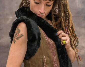 RABBIT FUR GILET Waistcoat Hooded  Fur Coat Vintage Fur Festival Gilet Boho Psytrance Festival