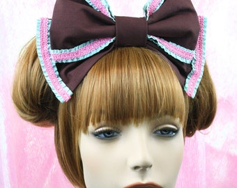 Lolita headbow-Lolita bow-sweet lolita bow-lolita hair accessory-chocolate accessory-kawaii accessory-chocolate accessory