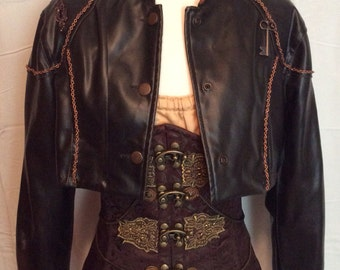 Steampunk Cropped Faux Leather Jacket w/ Octopus Tentacles, US size LARGE/TALL - Upcycled, Refashioned, Altered, one-of-a-kind cosplay