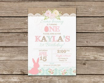 Easter Birthday Invitation, Digital File, You Print