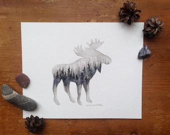 Dark Moose - Original Watercolor Painting