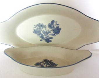 Vintage Pair Pfaltzgraff Au Gratin Dishes Blue Floral  22oz #270 and 8oz #260  Pristine Condition End Tabs for Holding Oval Shape
