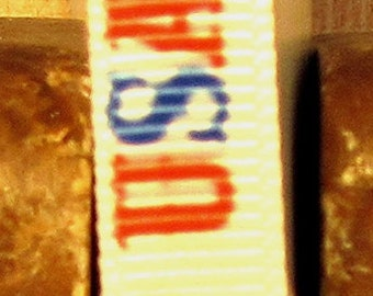 "2 Yards 3/8"" Patriotic Red & Royal Bold USA and Heart Print Grosgrain Ribbon"