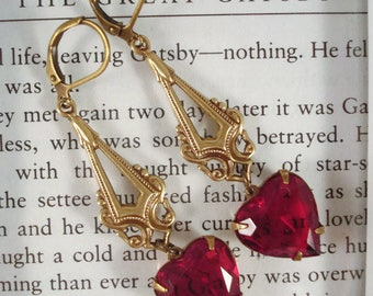 Red Rhinestone Heart Earrings Victorian Inspired Antique Bronze