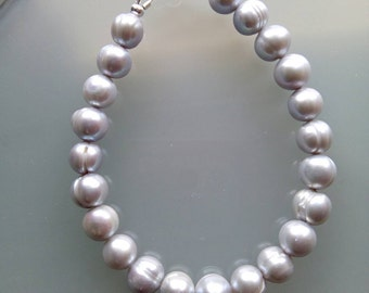 Silver Fresh Water Cultured Pearl and 925 Sterling Silver  Bracelet