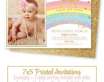Unicorn Birthday Invitation Photo Cards - Girls Magical Unicorn Party Gold Glitter - Printed Rainbow Unicorn Birthday Party Invites, Bright