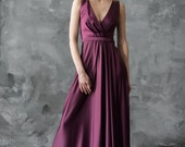 Purple floor length evening dress, v-neck bridesmaid dress, sleeveless prom dress, long satin dress/ Only one size EU36/ Ready to ship