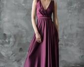 Purple floor length evening dress, v-neck bridesmaid dress, sleeveless prom dress, long satin dress/ Only one size EU36/ Ready to ship