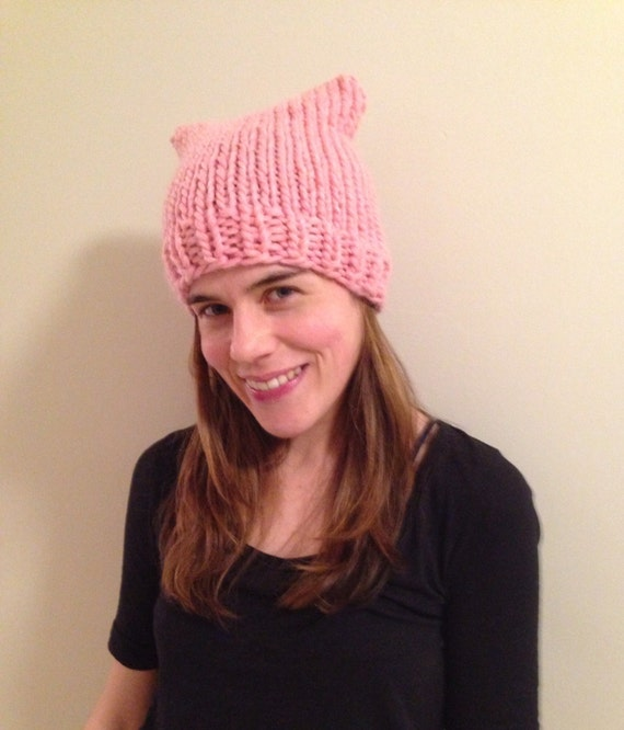 READY TO SHIP light pink pussy hat 100% wool in size small