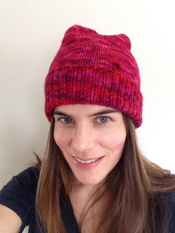 Ready to ship soft 100% merino wool red pink fuchsia folded up rib cuff beanie. Gift for her.
