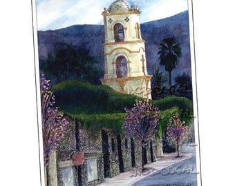 5x7 greeting card: Ojai Post Office Tower