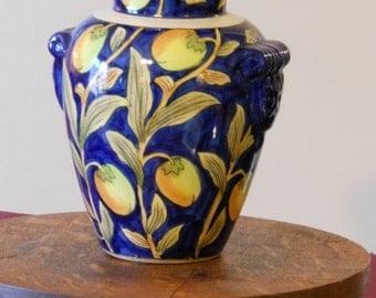 Dark Blue Asian-Themed Floral Vase