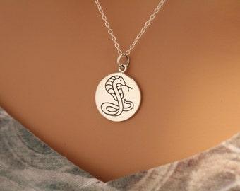 Sterling Silver Cobra Charm Necklace, Cobra Snake Necklace, Cobra Necklace, Snake Charm Necklace, Silver Snake Pendant Necklace, #A540