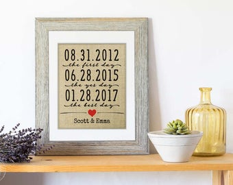 10 Year Anniversary Gift for Men, Our Love Story Sign on Burlap, Love Story Print, Date Anniversary Gift for Him Gift for Husband Gift Love