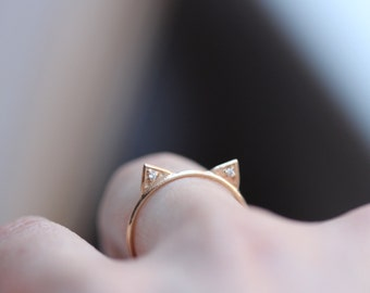 14K Cat Ring, Diamond Cat Ring, Kitty Ring, Solid Gold, Rose Gold, Yellow Gold, White Gold, Animal Jewelry, Stacking Ring, Purr
