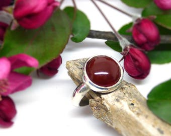 Red carnelian ring ~ Chunky ring ~ Round statement ring ~Sterling silver everyday jewelry ~ Bold jewelry ~ Red ring ~ Carnelian jewelry