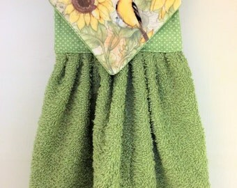 Goldfinch and Sunflower Hanging Hand Towel, Sage Green Hand Towel, Mother's Day Gift, Goldfinches Kitchen Decor, Sage Green Kitchen