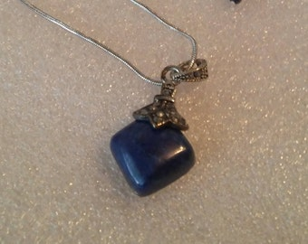 Marcasite and Lapis Silver 18 Inch Rhombus Necklace