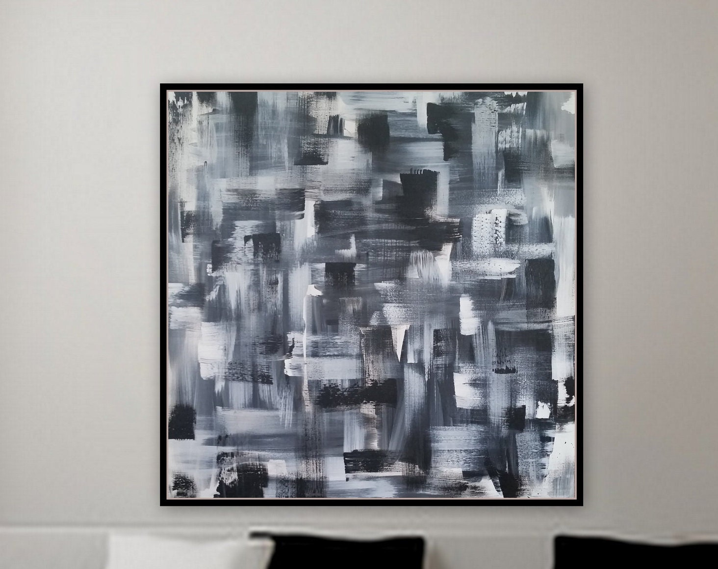 Large Original Abstract Black And White Painting 36 X 36 X