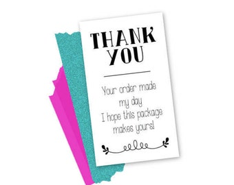 INSTANT DOWNLOAD | Small Business Thank You Your Order Made My Day | 3.5x2 business cards | 10 cards per sheet | Unlimited Printing