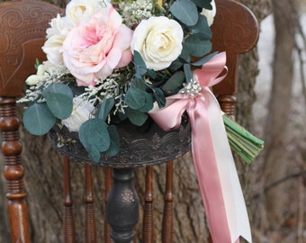 Loose Vintage Blush Cottage Rose Eucalyptus Silk Greenery Wedding Bouquet