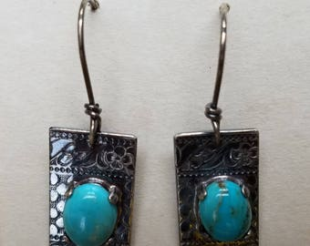 Antique silver and turquoise earrings.